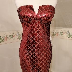 Junior's Strapless Sequined Dress (New w/tags)